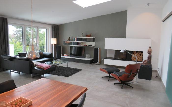 Moderner Wohnbereich mit Kamin und Sofaecke