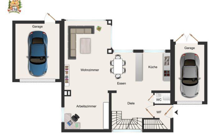 Grundriss mit Garagen