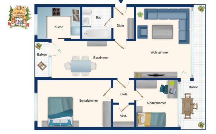 Grundriss Erdgeschoss-Wohnung