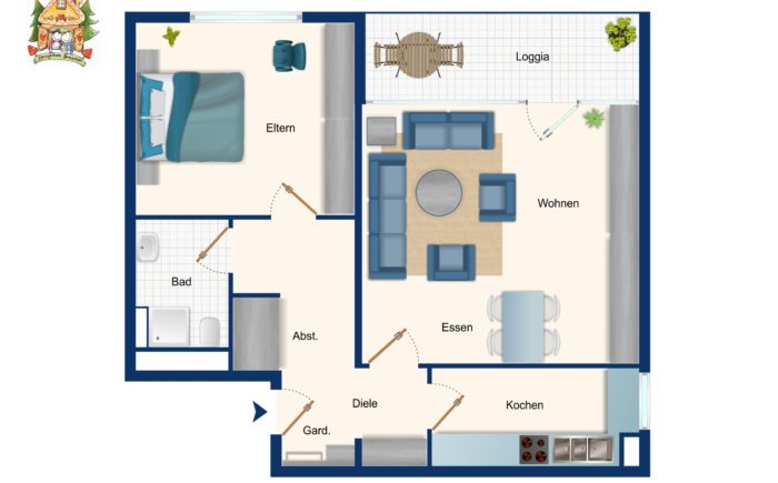 Zeichnung des Grundrisses der Wohnung