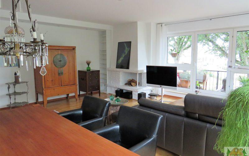 Esstisch, Sofa, Fernseher, Bücherecke